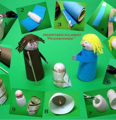 Presepe fai-da-te con bottigliette di plastica, tappi, bastoncini colorati, e avanzi di polistirolo