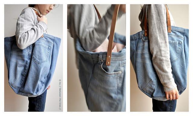 come fare una borsa da un paio di jeans
