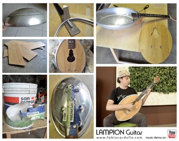 Chitarra con materiale riciclato: lampion guitar
