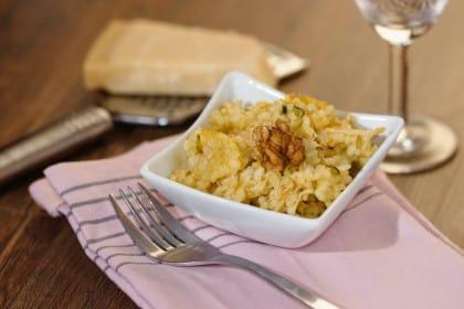 ricetta risotto con pere e noci