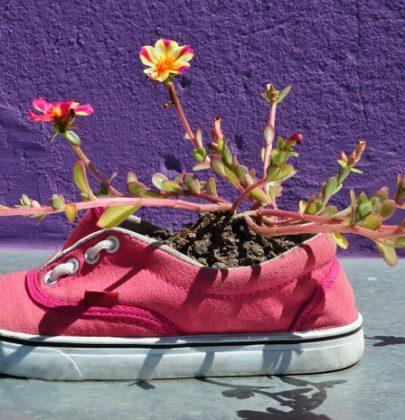 Scarpe da ginnastica, come riciclarle. Porta piante e fiori e bracciali di corda